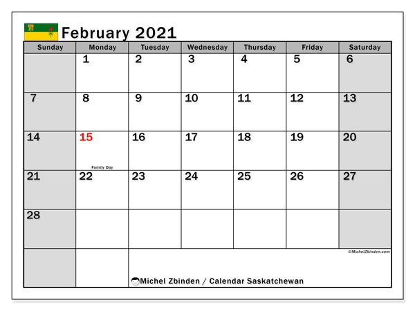 "Printable ""Saskatchewan"" calendar with public holidays. Monthly February 2021 calendar and free printable schedule."