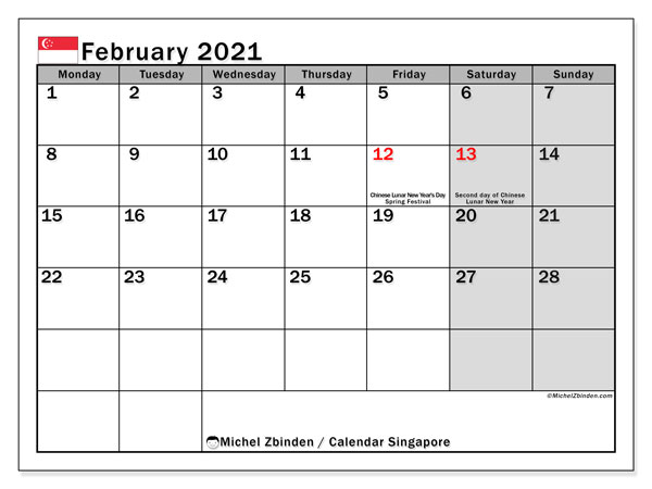 Calendar February 2021 - Singapore. Public Holidays. Monthly Calendar and free printable schedule.