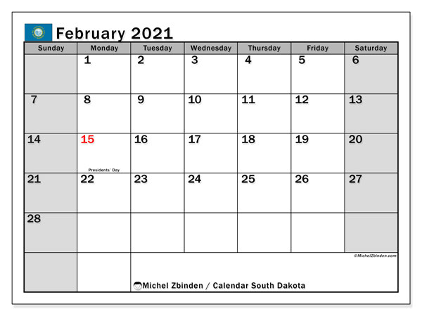 Calendar February 2021 - South Dakota. Public Holidays. Monthly Calendar and free printable bullet journal.