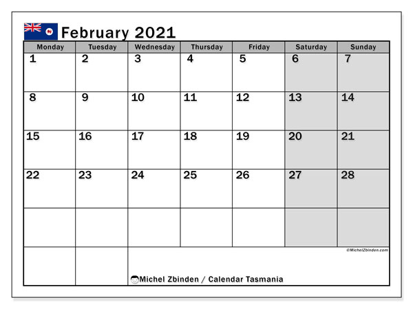 Calendar February 2021 - Tasmania. Public Holidays. Monthly Calendar and free planner to print.
