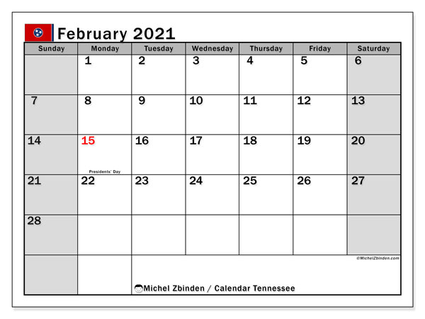February 2021 Calendar, with the holidays of Tennessee. Holidays calendar to print free.