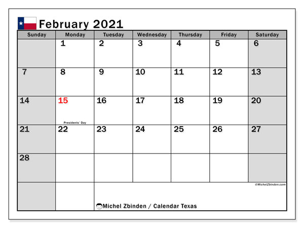 "Printable ""Texas"" calendar with public holidays. Monthly February 2021 calendar and planner to print free."