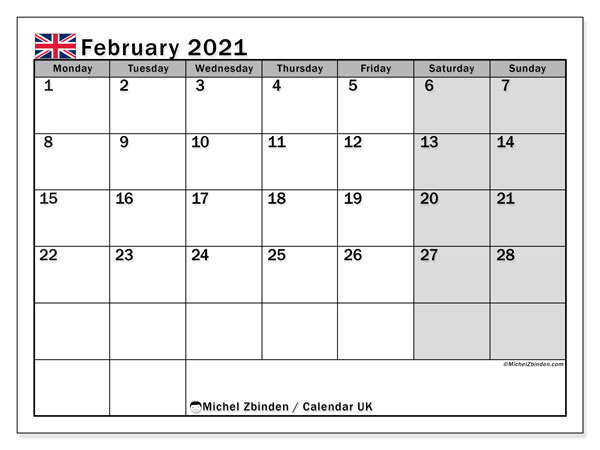 Calendar February 2021 - UK. Public Holidays. Monthly Calendar and free printable bullet journal.