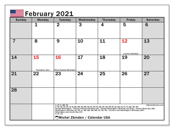 February 2021 Calendar, with the holidays of the USA. Free printable calendar with public holidays.