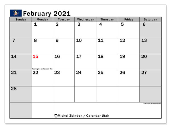 Calendar February 2021 - Utah. Public Holidays. Monthly Calendar and free timetable to print.