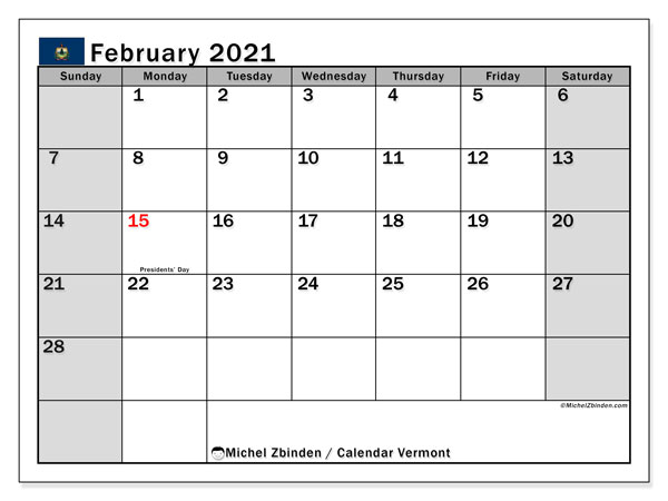 February 2021 Calendar, with the holidays of Vermont. Holidays calendar to print free.