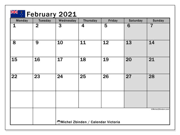 February 2021 Calendar, with the holidays of Victoria. Free printable calendar with public holidays.