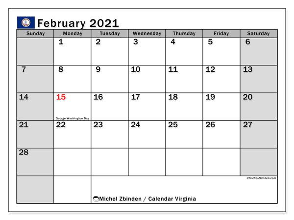 February 2021 Calendar, with the holidays of Virginia. Holidays calendar to print free.