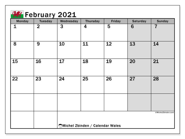 February 2021 Calendar, with the holidays of Wales. Free printable calendar with public holidays.