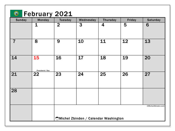 Calendar February 2021 - Washington. Public Holidays. Monthly Calendar and free planner to print.