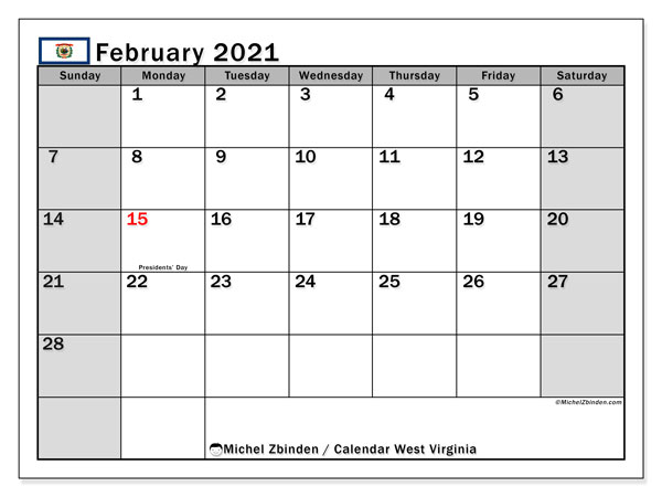 February 2021 Calendar, with the holidays of West Virginia. Free printable calendar with public holidays.