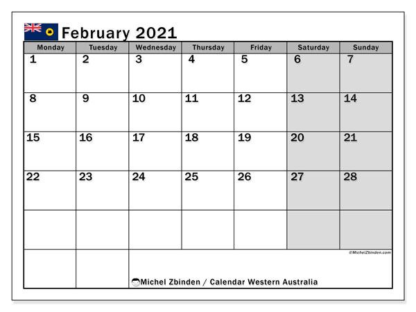 February 2021 Calendar, with the holidays of Western Australia. Holidays calendar to print free.