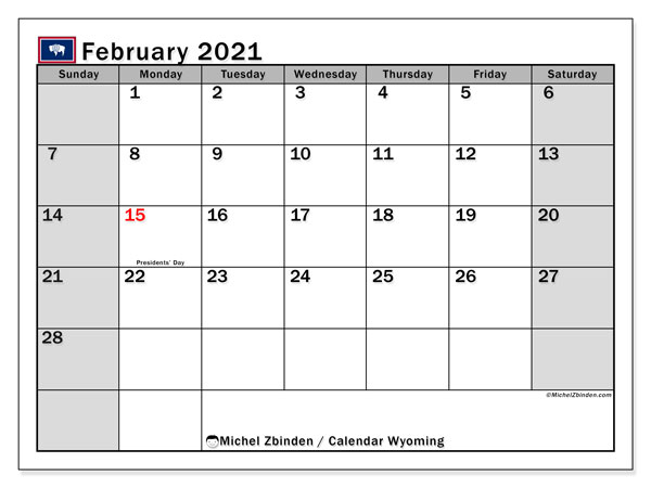 February 2021 Calendar, with the holidays of Wyoming. Holidays calendar to print free.