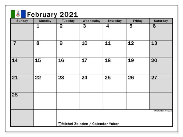 February 2021 Calendar, with the holidays of Yukon. Holidays calendar to print free.