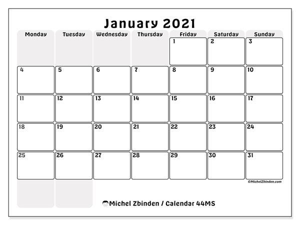 "Printable January 2021 calendar. Monthly calendar ""44MS"" and free printable bullet journal"
