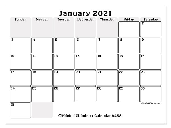 Printable calendar, January 2021, 44SS