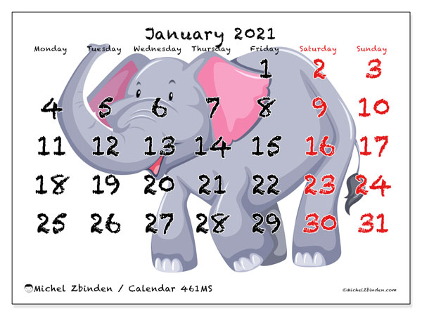 Printable calendar, January 2021, 461MS
