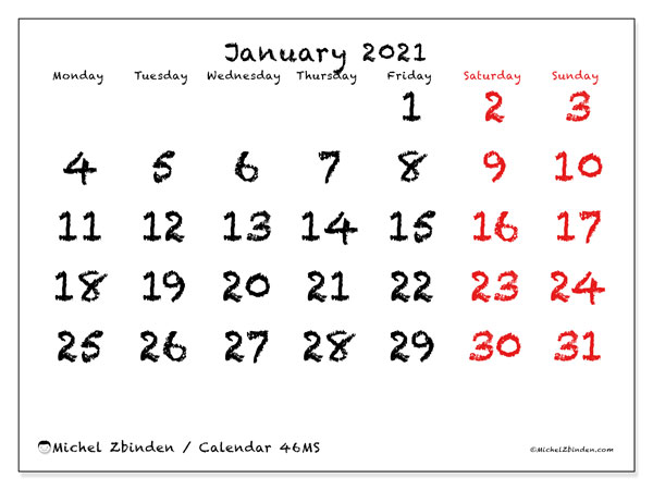 Printable calendar, January 2021, 46MS