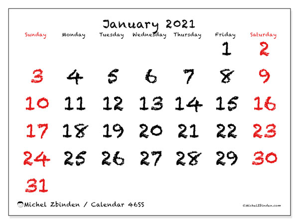 Printable calendar, January 2021, 46SS
