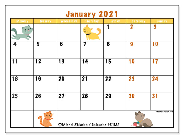 Printable calendar, January 2021, 481MS