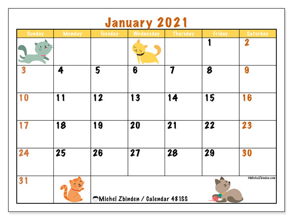 "Printable January 2021 ""481SS"" Calendar - Michel Zbinden EN"