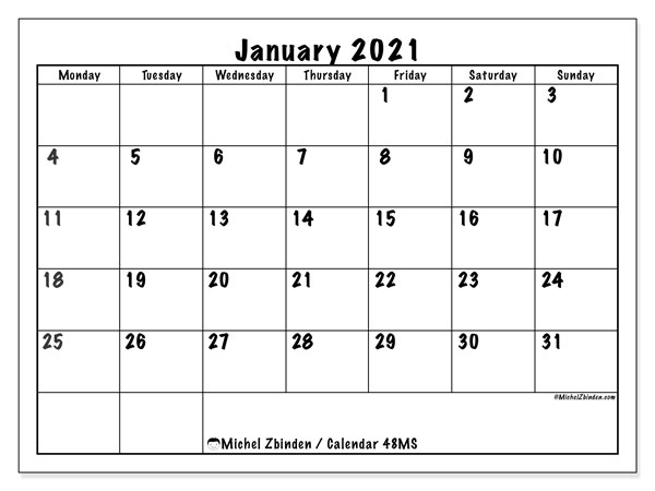 January 2021 Calendar, 48MS. Free printable calendar.