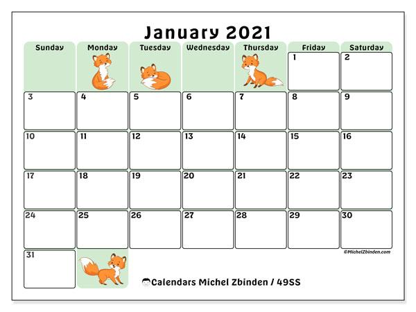 January 2021 Calendar, 49SS. Monthly calendar to print free.