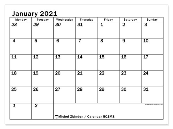 Printable calendar, January 2021, 501MS