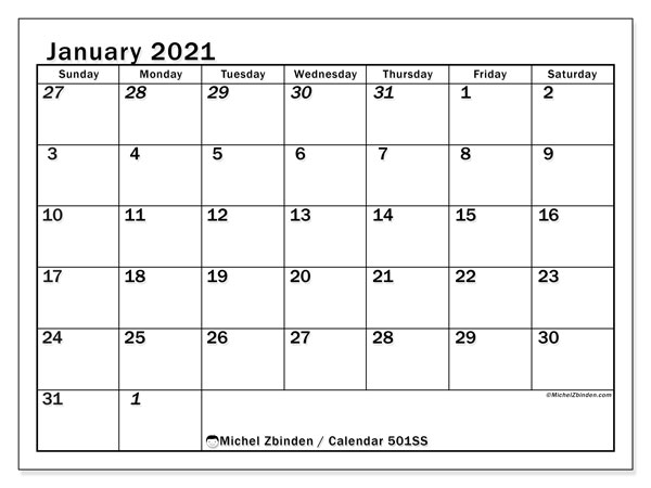 Printable calendar, January 2021, 501SS