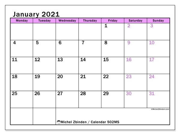 Printable calendar, January 2021, 502MS