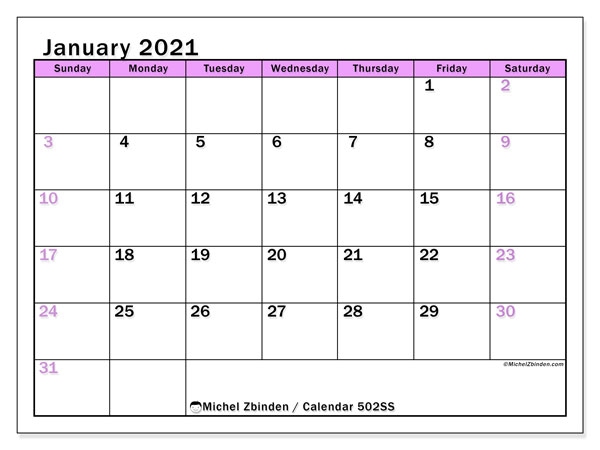 Printable calendar, January 2021, 502SS