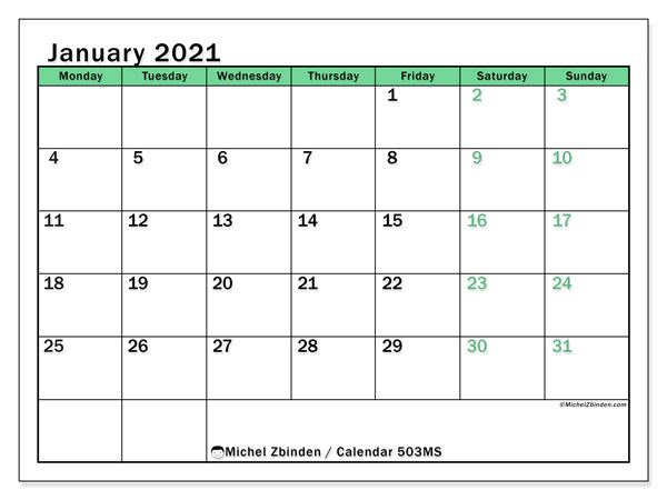 Printable calendar, January 2021, 503MS