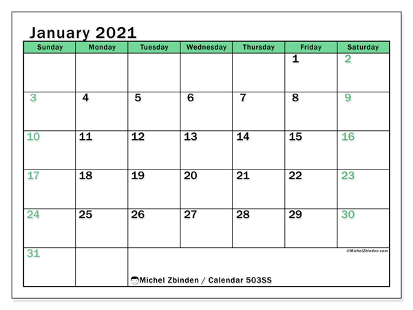 Printable calendar, January 2021, 503SS