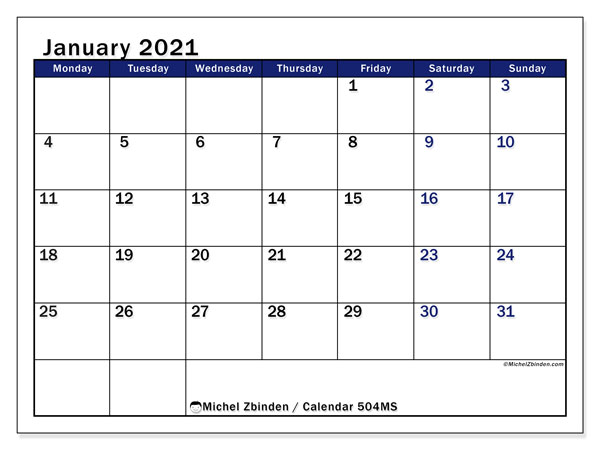 Printable calendar, January 2021, 504MS