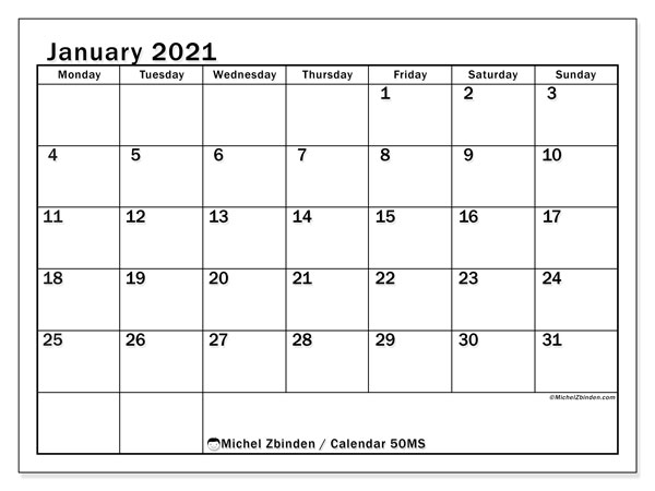 Printable calendar, January 2021, 50MS