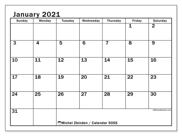 January 2021 Calendar, 50SS. Free printable monthly planner.
