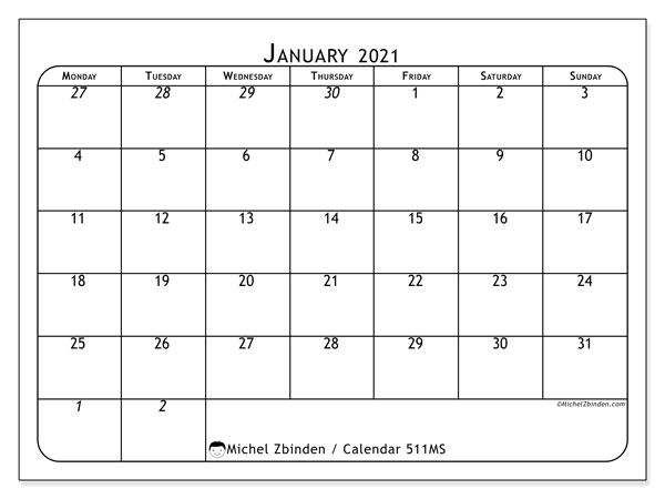 Printable calendar, January 2021, 511MS