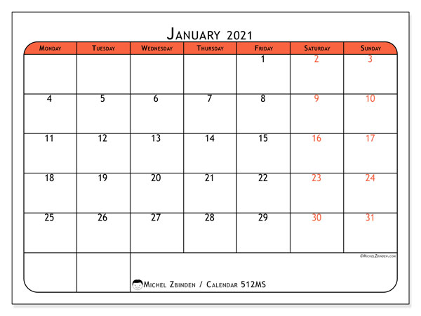 Printable calendar, January 2021, 512MS