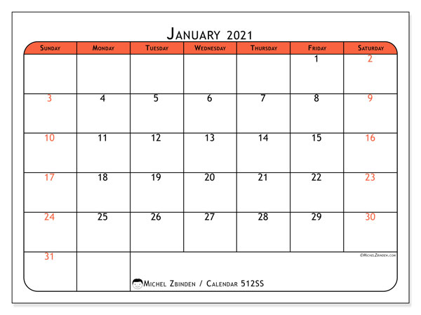 Printable calendar, January 2021, 512SS