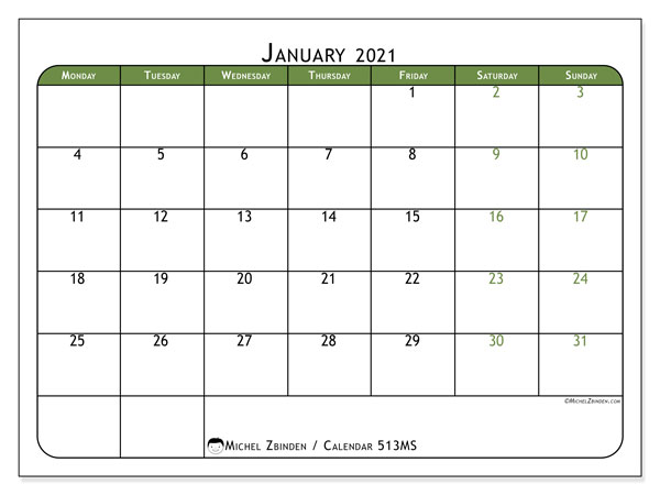Printable calendar, January 2021, 513MS