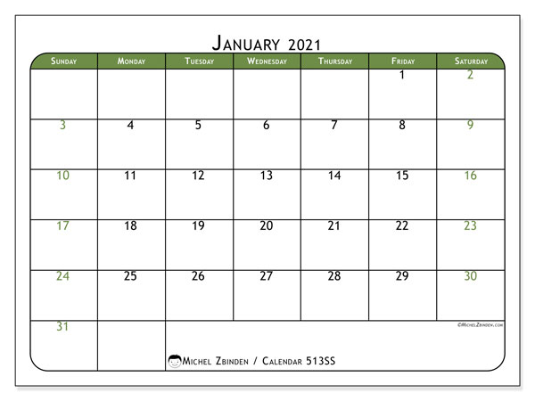 Printable calendar, January 2021, 513SS