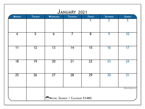 Printable calendar, January 2021, 514MS