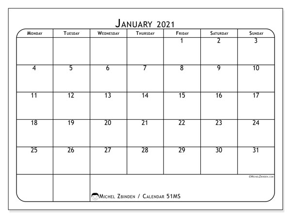 Printable calendar, January 2021, 51MS