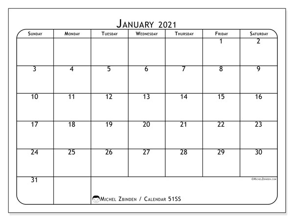 January 2021 Calendar, 51SS. Free printable monthly planner.