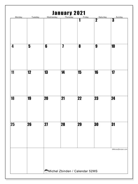 Printable calendar, January 2021, 52MS