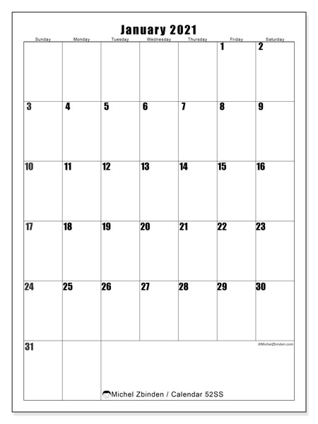 Calendar January 2021 - 52SS. Vertical. Monthly Calendar and planner to print free.
