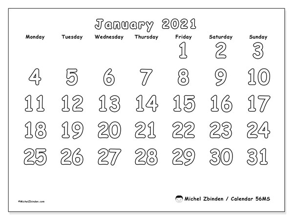 Printable calendar, January 2021, 56MS