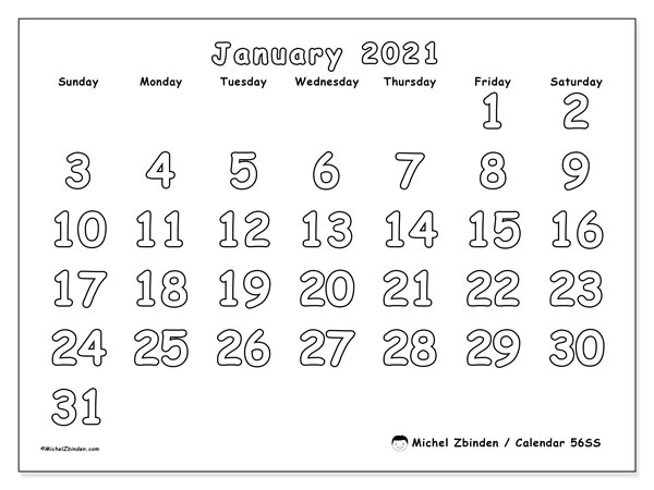 Printable calendar, January 2021, 56SS