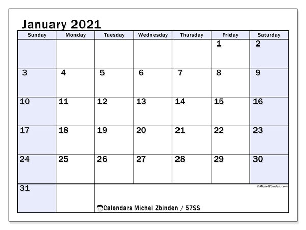 January 2021 Calendar, 57SS. Monthly calendar to print free.