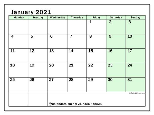 January 2021 Calendar, 60MS. Planner to print free.